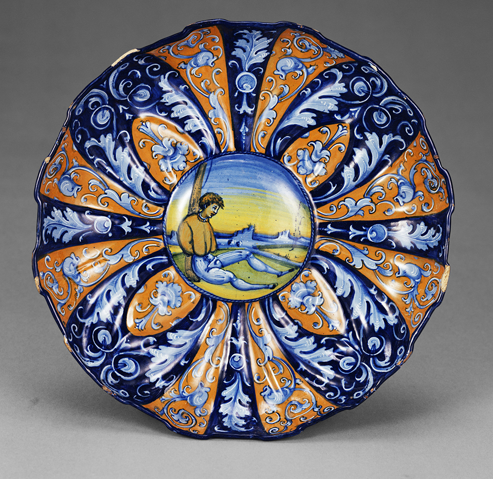 Molded dish with an allegory of love, Italian, c. 1535.