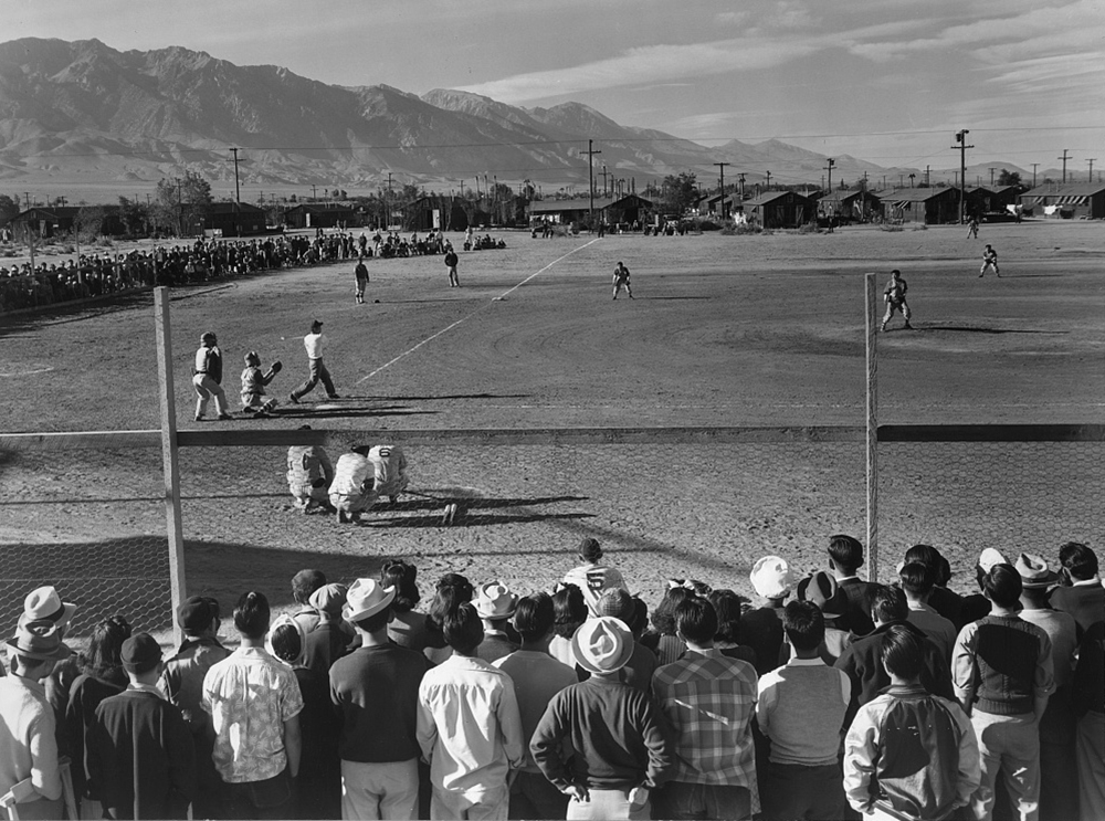 Baseball game, Manzanar Relocation Center, 1943. Photograph by Ansel Adams. Library of Congress, Prints and Photographs Division.