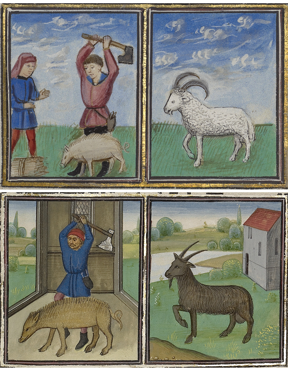 Calendar pages for December, by Master of the Lee Hours and the Workshop of Willem Vrelant, fifteenth century.