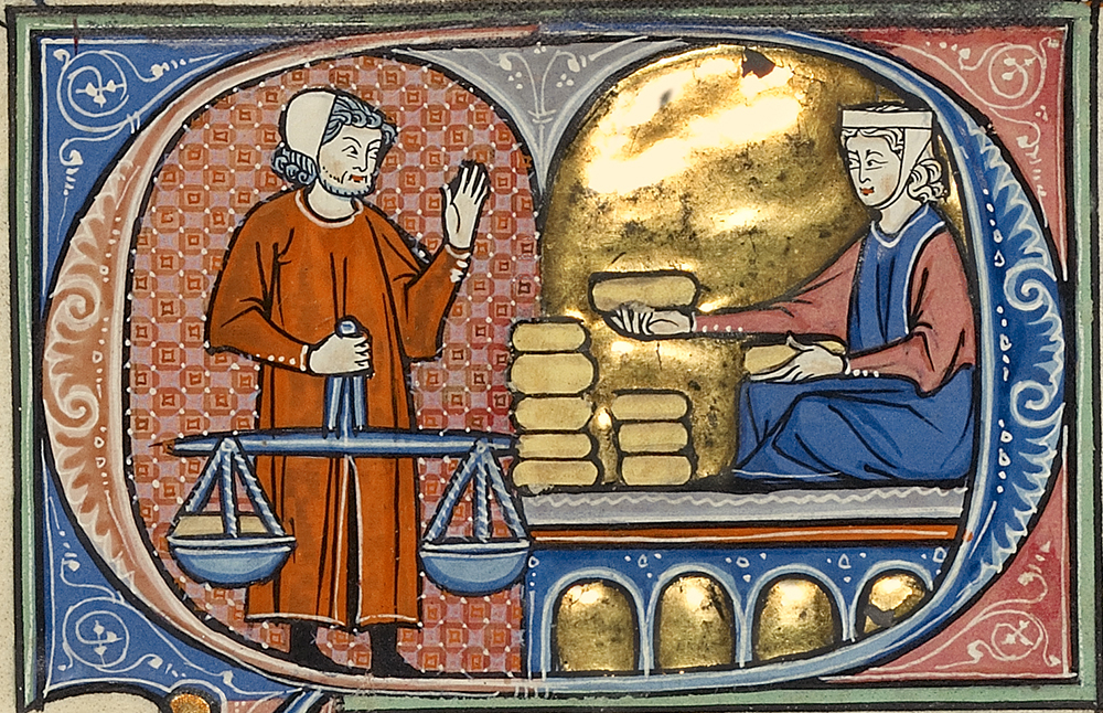A Woman with Bread Loaves Before a Man Holding a Scale, Spain, c. 1290.