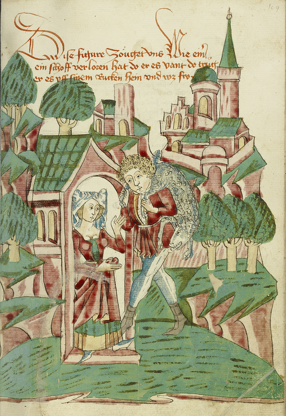 Shepherd Returning with Lost Sheep, from the Workshop of Diebold Lauber, 1469.