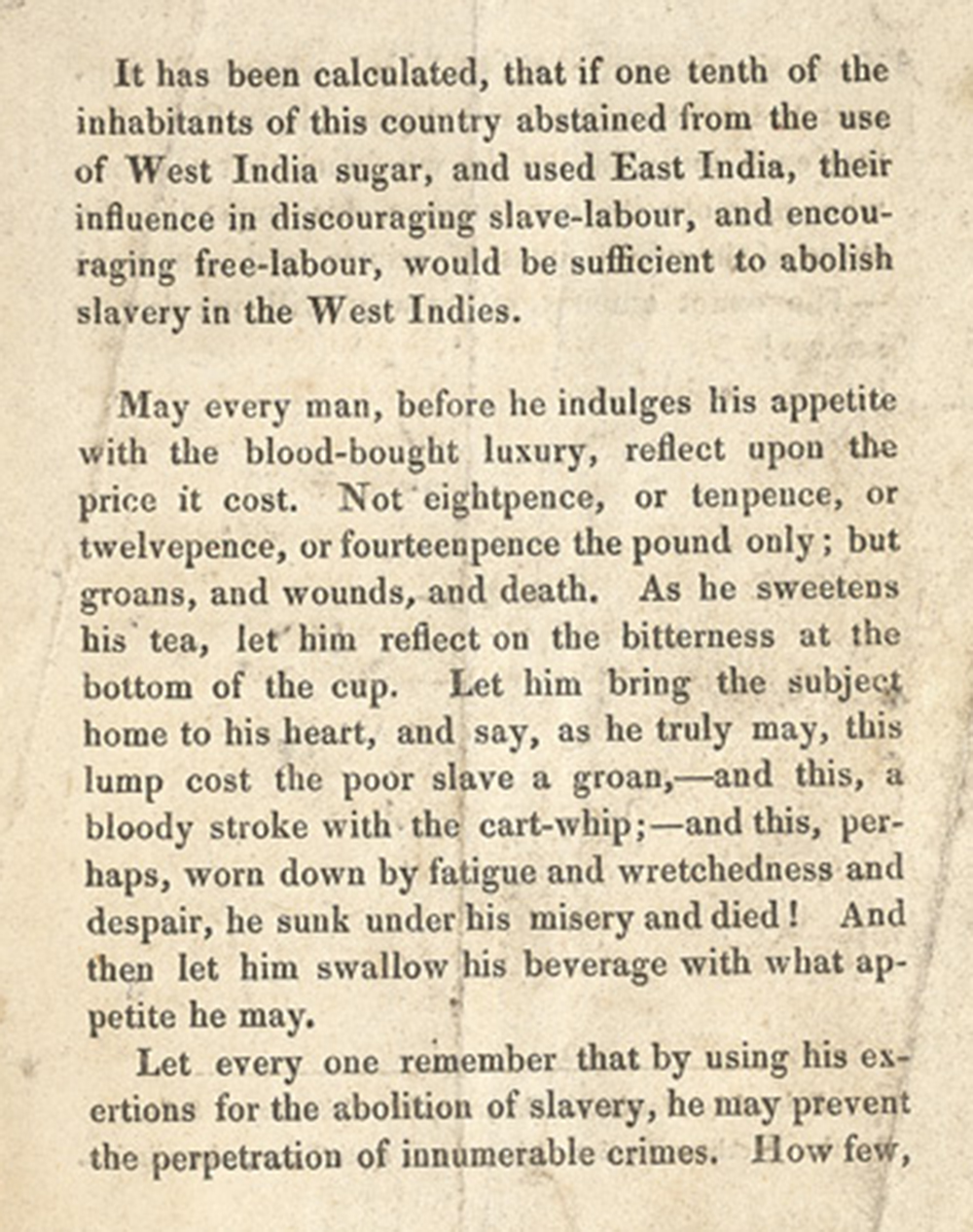 """Reasons for Using East India Sugar,"" Peckham Ladies' African and Anti-Slavery Association, 1828. British Library."