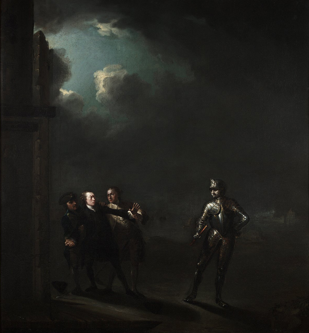 William Powell as Hamlet Encountering the Ghost, by Benjamin Wilson, c. 1768.
