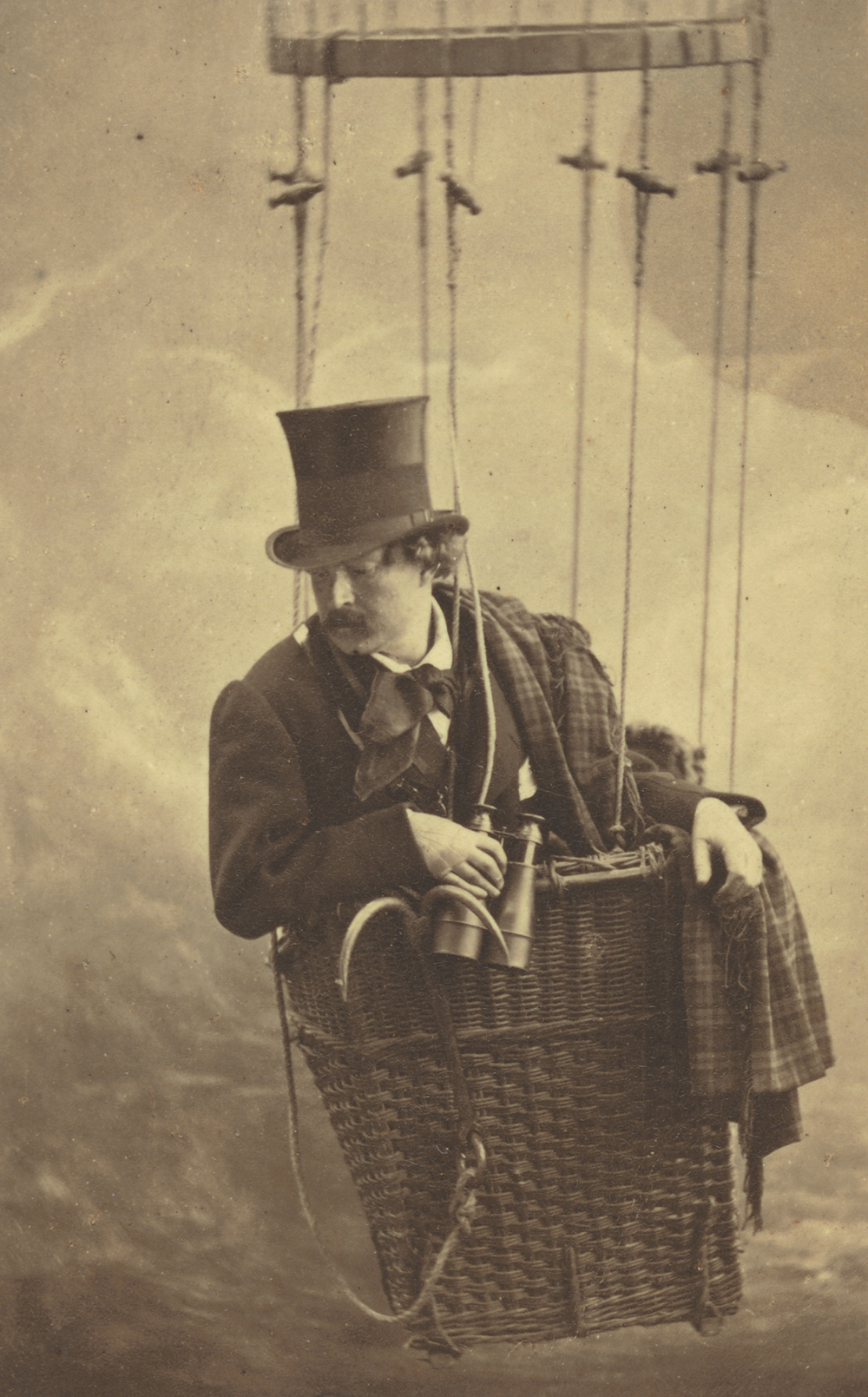 Félix Nadar in gondola of balloon, c. 1863. Photograph by Félix Nadar. The J. Paul Getty Museum.