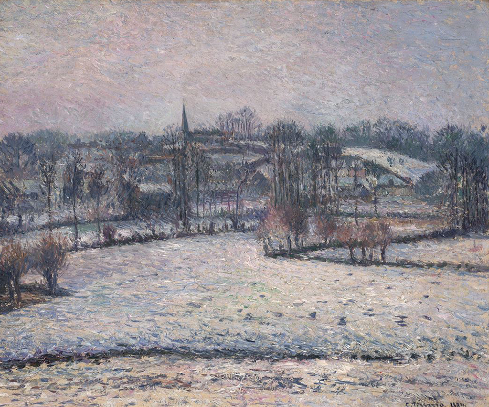 """Snow Scene at Éragny,"" by Camille Pissaro, 1884. Fine Arts Museums of San Francisco, Gift of Mrs. Renée M. Bransten."