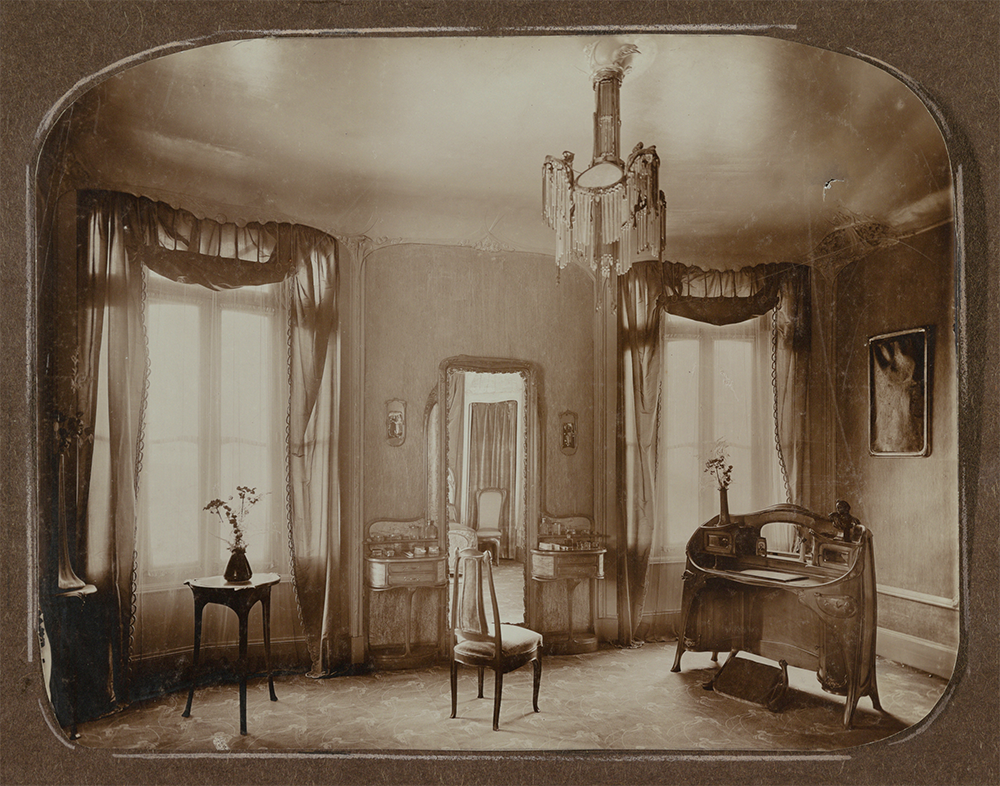 Partial view of Mme. Guimard's bedroom, Hôtel Guimard, Paris, c. 1909. Cooper Hewitt, Smithsonian Design Museum, Gift of Madame Hector Guimard.