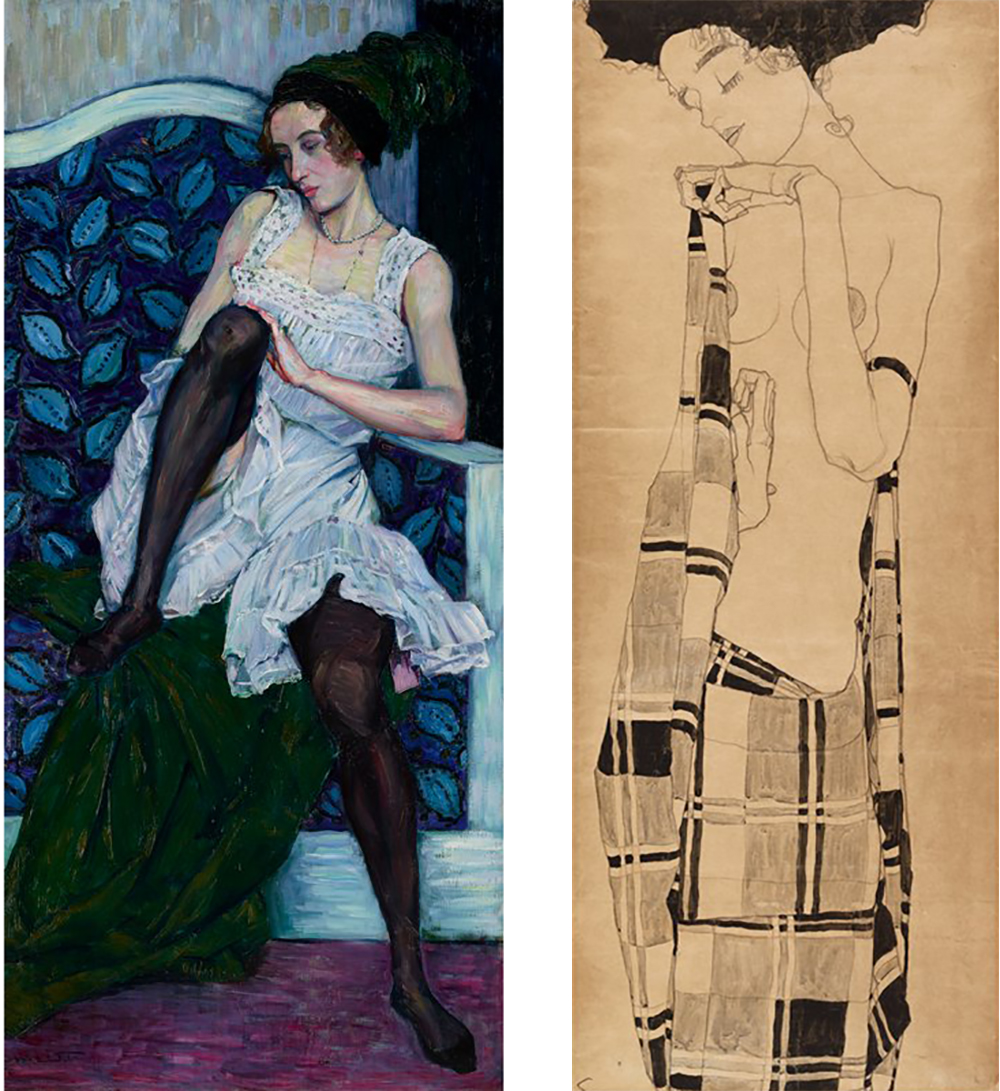 Left: Young Woman in Undergarments, by Wilhelm List, c. 1910. Right: Standing Girl, by Egon Schiele, c. 1910.