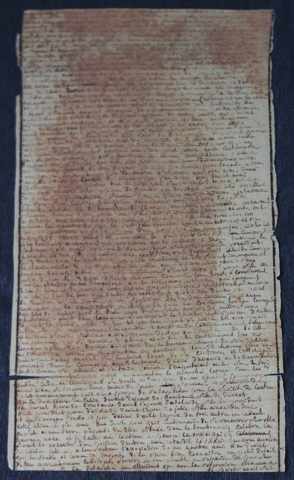 Photograph of a page from the manuscript of The 120 Days of Sodom by the Marquis de Sade.