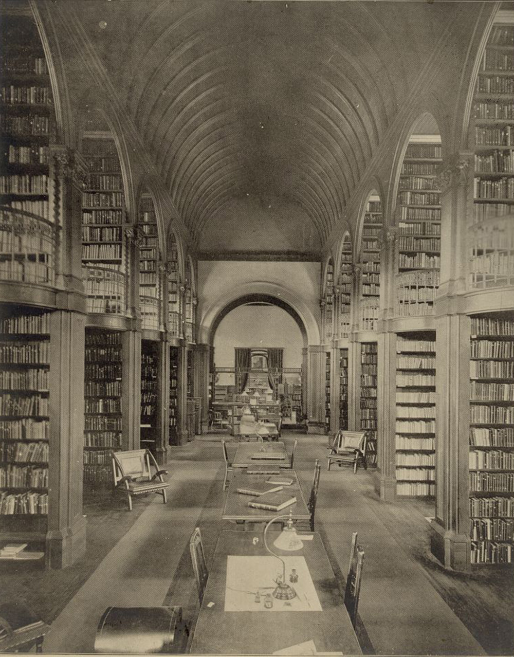 Book room, Woburn Public Library, designed by Gambrill & Richardson, c. 1880. The Library of Congress, Prints and Photographs.