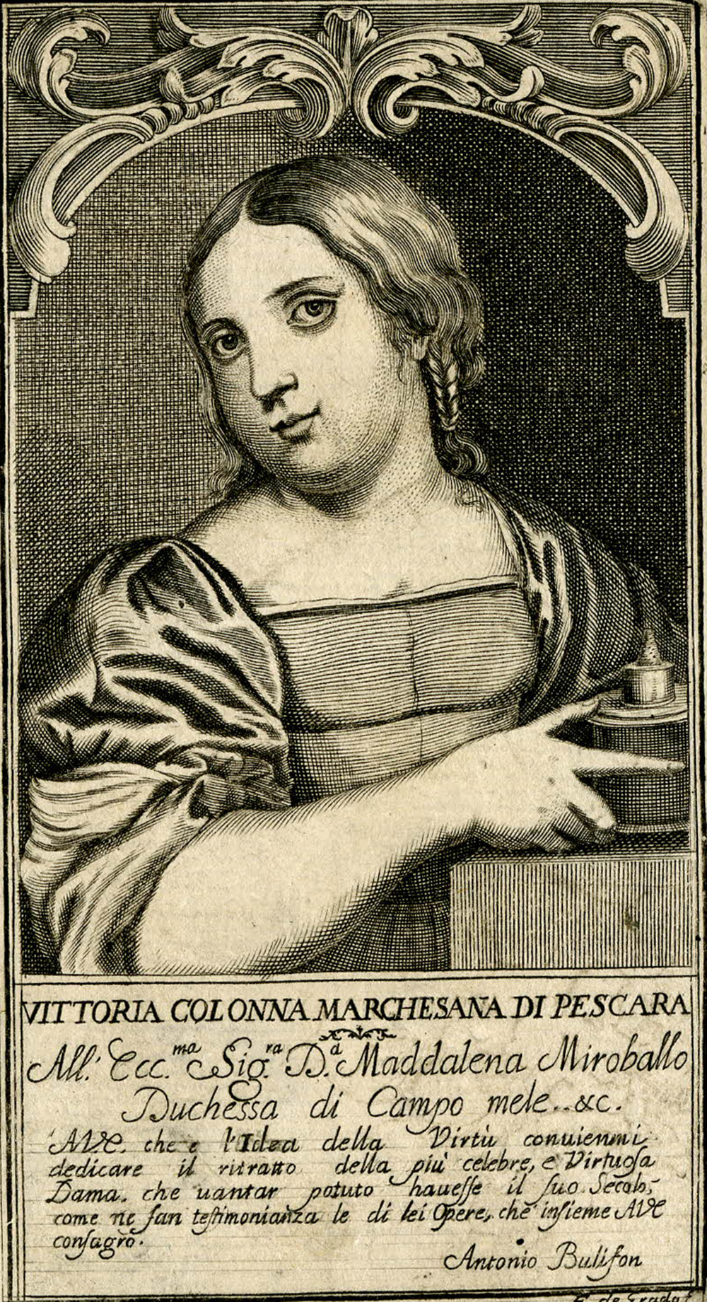 """Vittoria Colonna,"" by Francesco de Grado, c. 1678. The British Museum, Prints & Drawings."