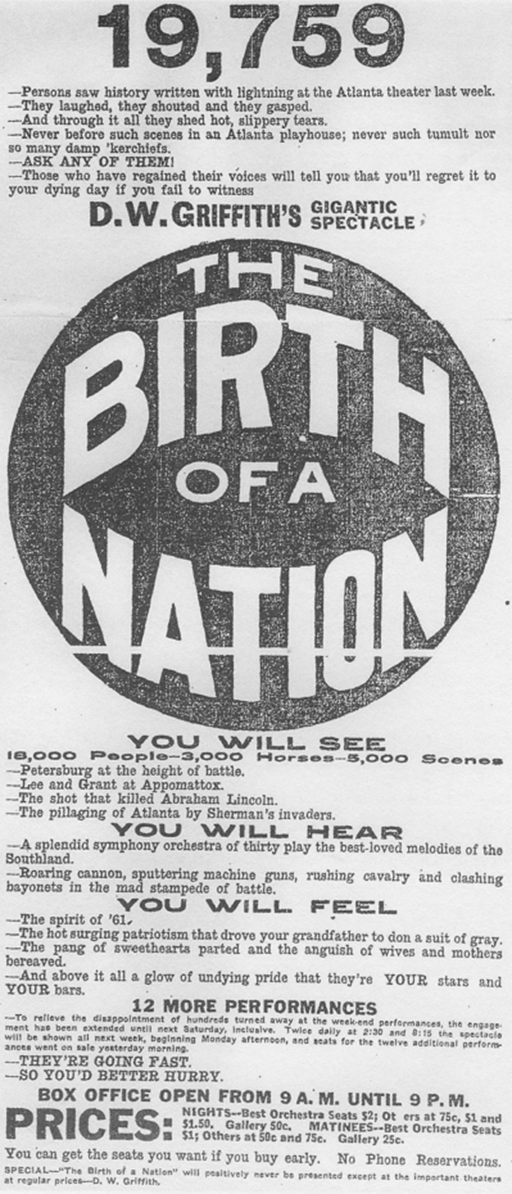"Advertisement for ""The Birth of a Nation."" The Atlanta Constitution, December 12, 1915."