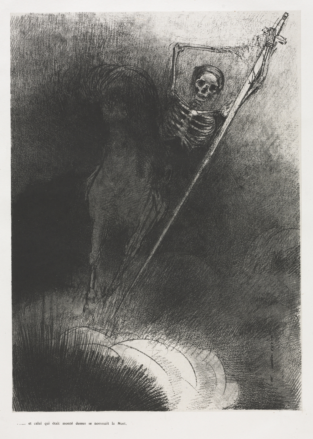 A lithograph of a skeleton riding a horse, holding a large sword.