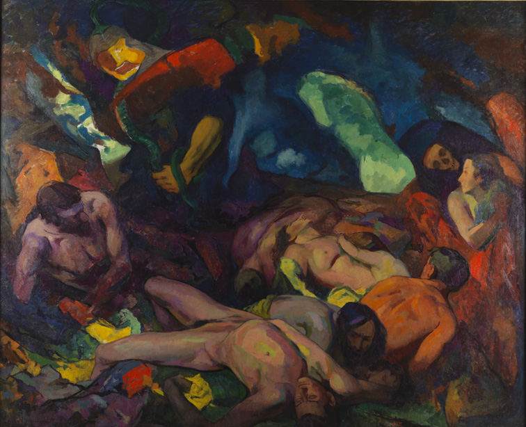 A colourful expressionist painting depicting a number of dead bodies.