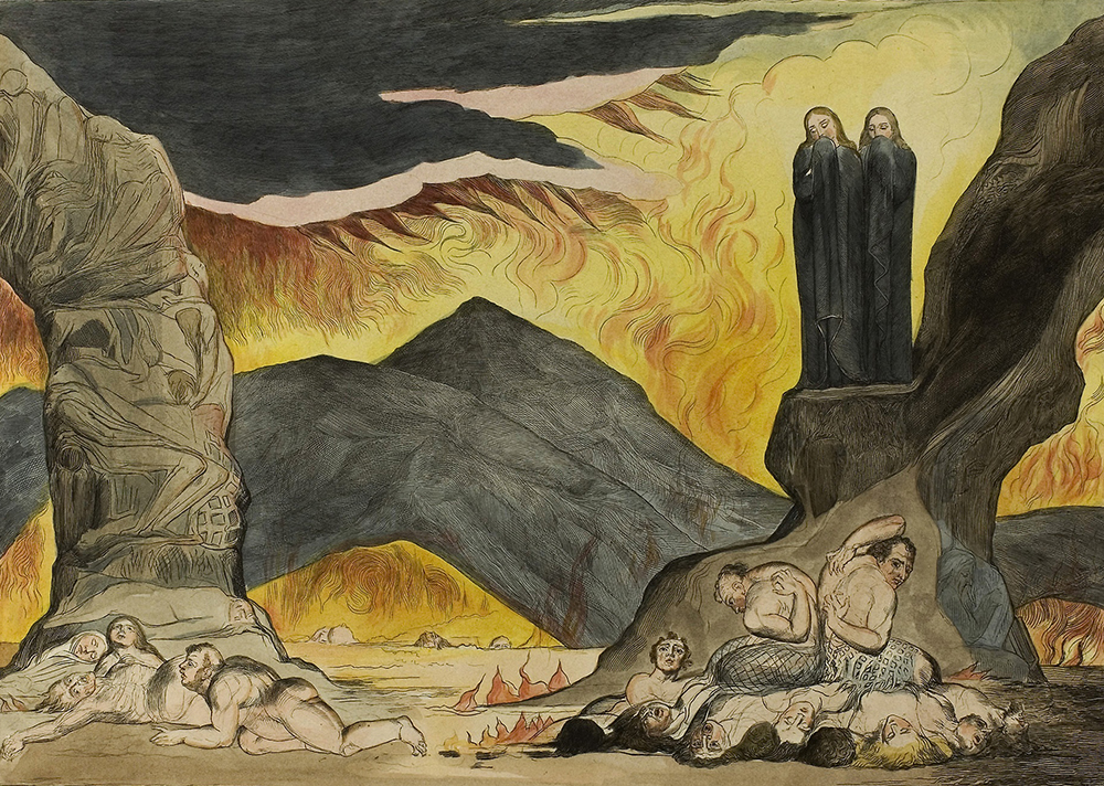 Dante and Virgil Covering Their Noses Because of the Stench, by William Blake, 1827. The Art Institute of Chicago, Gift of Mrs. Elizabeth D. McCormick.