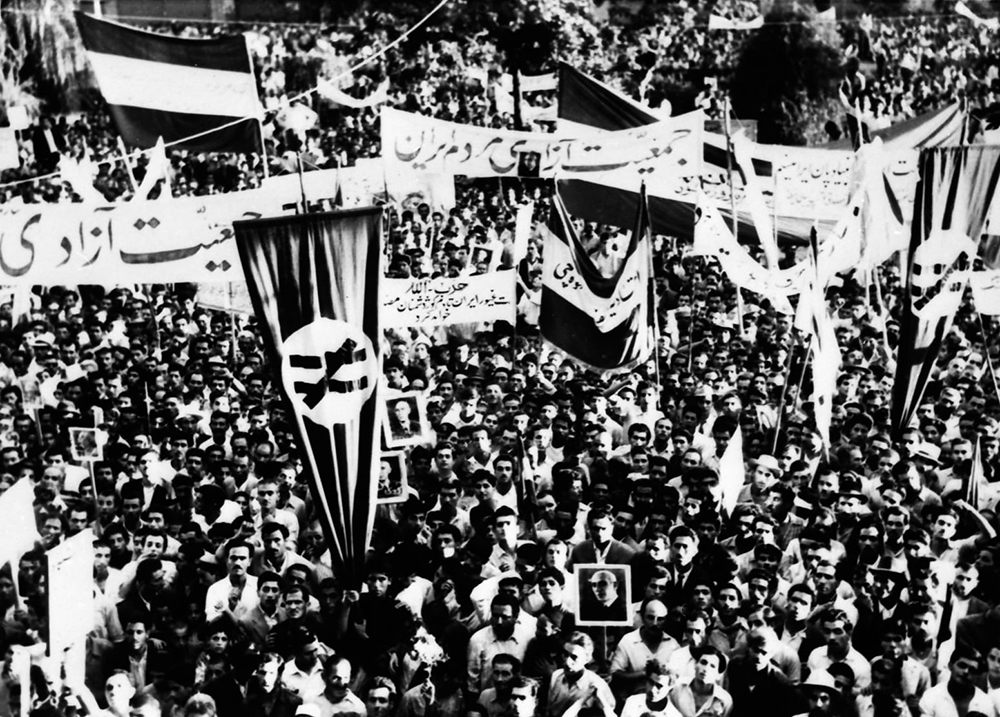 A protest in Tehran during the 1953 Iranian coup d'état. Photograph by The Guardian. Wikimedia Commons.
