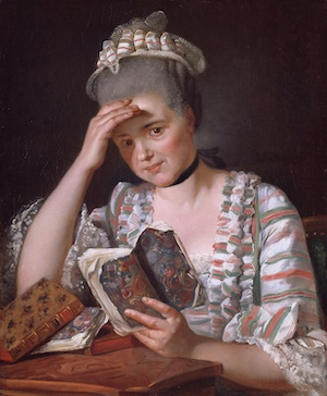 Jacques Louis David's painting of Madame Francois Buron reading. She holds a book in marbled paper wrappers.
