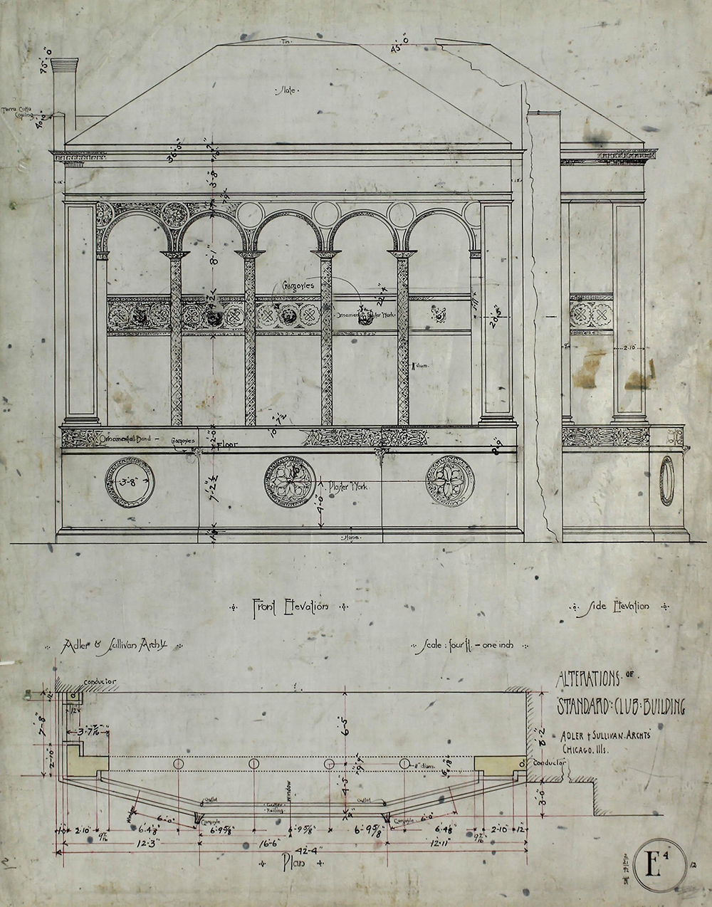 Standard Club addition and alterations, first-floor plan, by Adler & Sullivan, 1892.