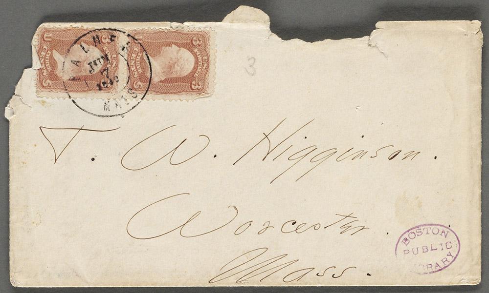 Envelope to Thomas Wentworth Higginson. Boston Public Library.