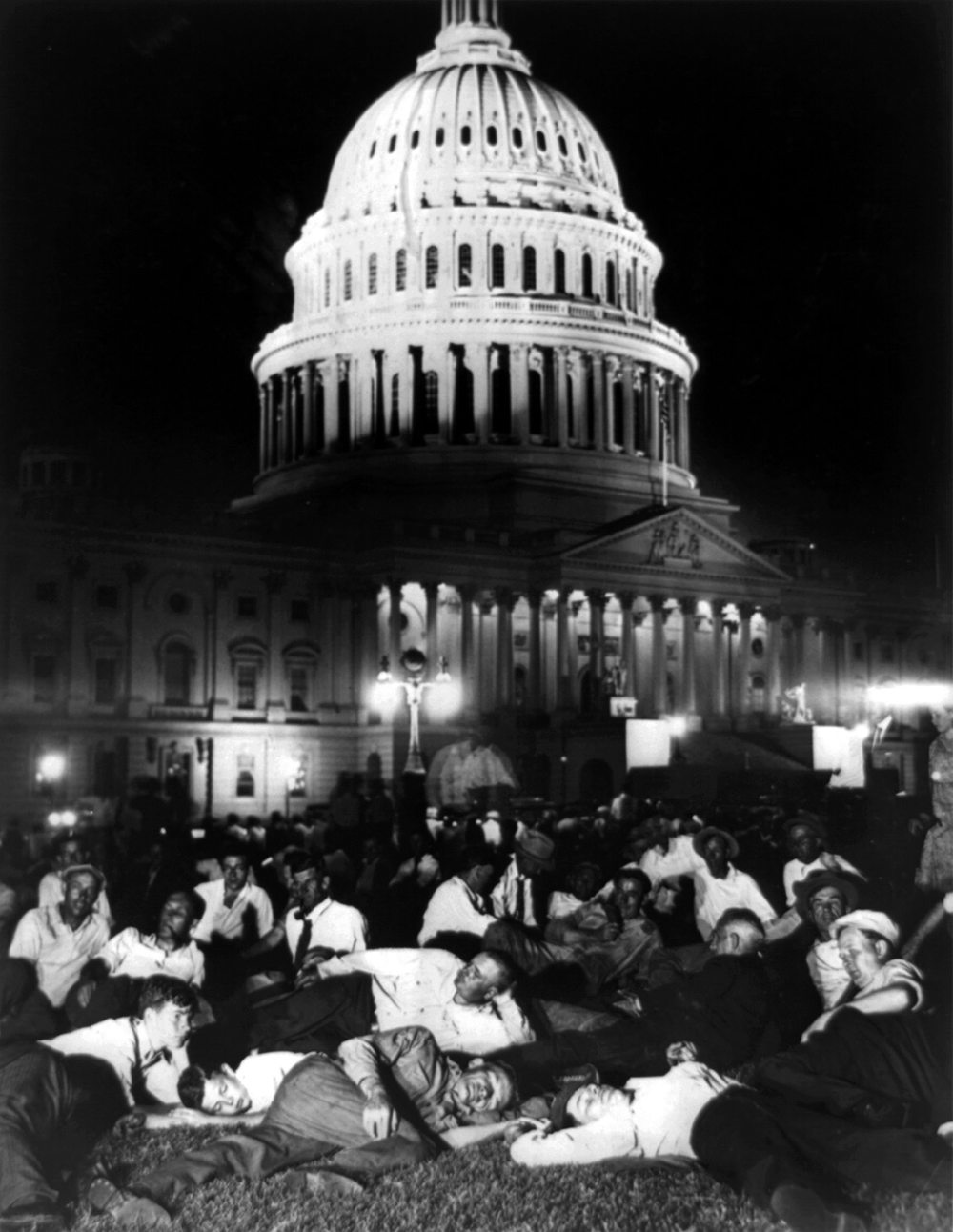 Members of the Bonus Army on the Capitol lawn, July 13, 1932. Library of Congress, Prints and Photographs Division, Washington, DC.