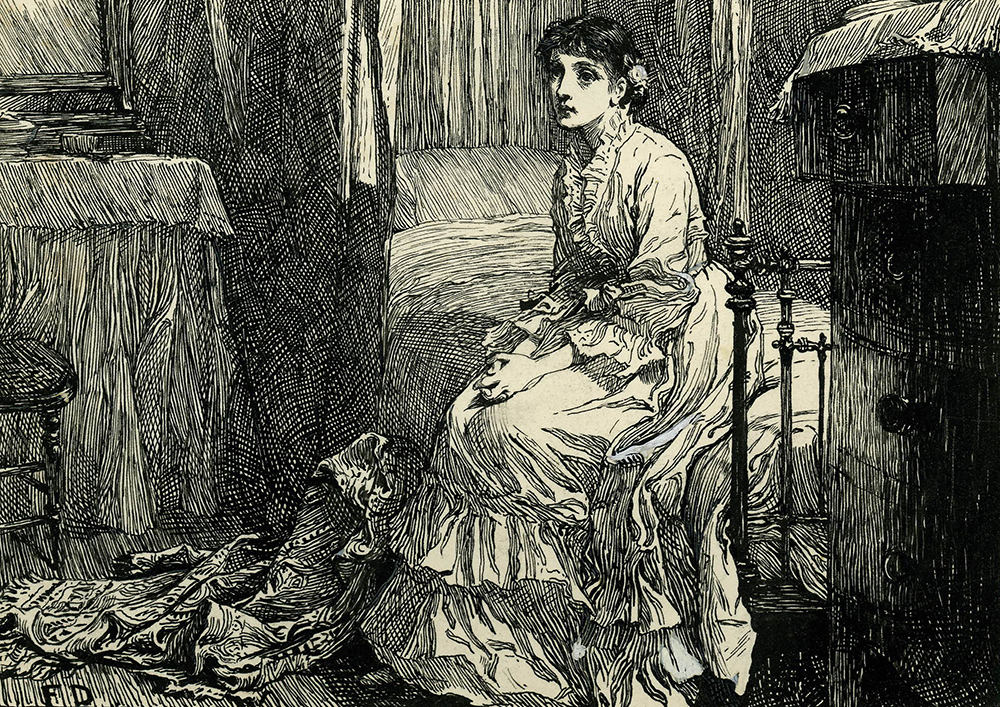 """She sat down on the little white bed and began to think,"" illustration of a woman wearing a long dress and sitting on the edge of a bed, dressing table, and stool, for ""Within the Precincts,"" in Cornhill Magazine, April 1878. © The Trustees of the British Museum."