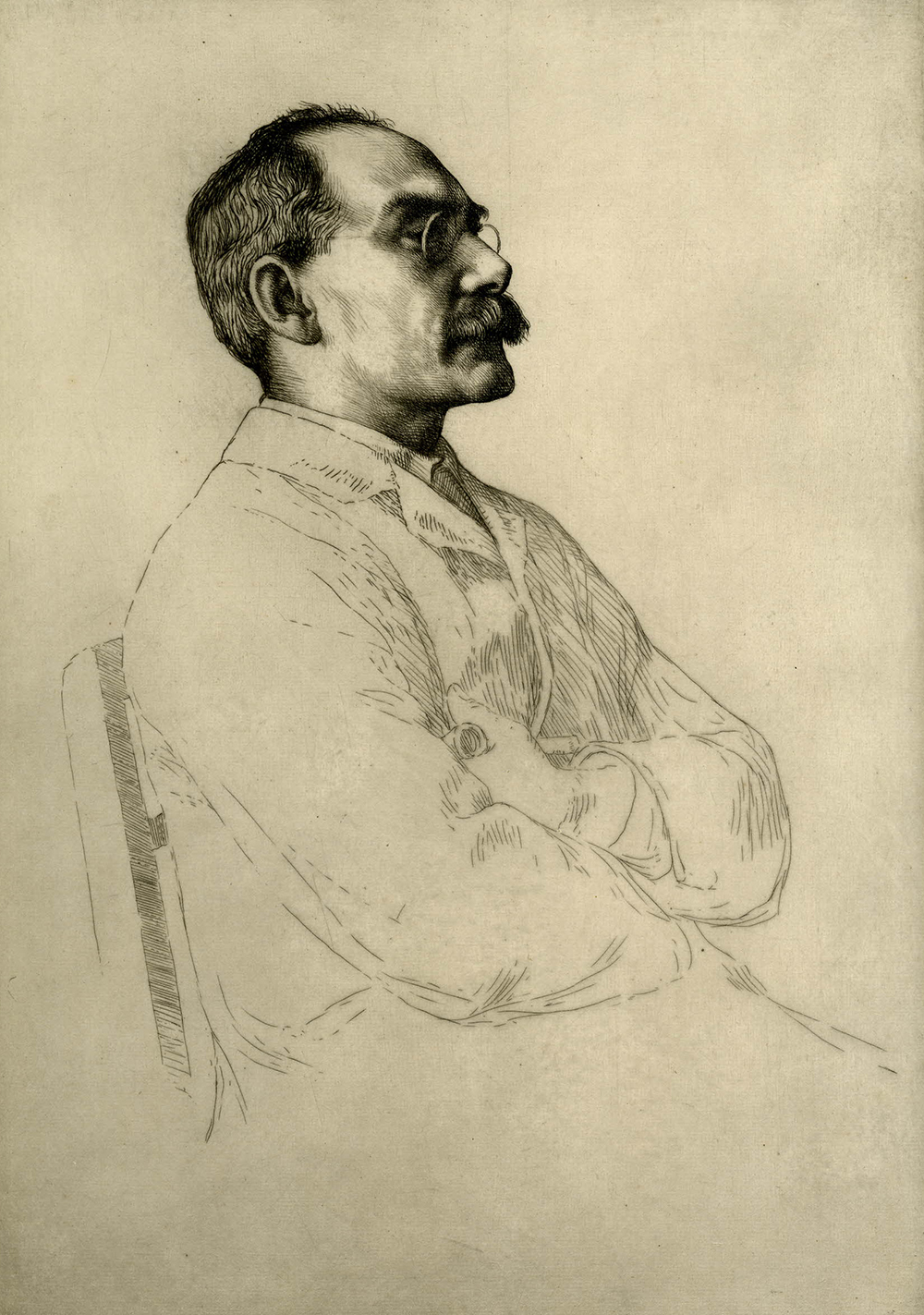 """""""Rudyard Kipling, No.1,"""" by William Strang, 1898. The British Museum, Bequeathed by Campbell Dodgson."""