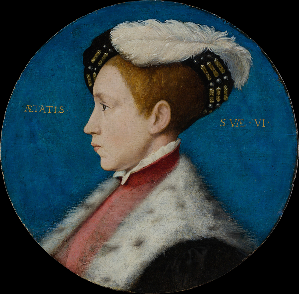 """Edward VI (1537–1553), When Duke of Cornwall,"" from the workshop of Hans Holbein the Younger, c. 1545, reworked 1547 or later. The Metropolitan Museum of Art, The Jules Bache Collection, 1949."