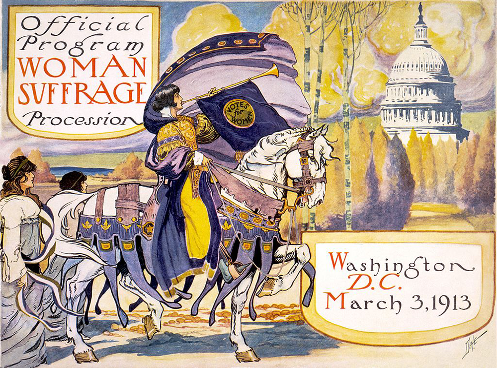 Cover of the program for the National American Women's Suffrage Association procession, by Benjamin M. Dale, 1913. Library of Congress, Prints and Photographs Division, Washington, DC.