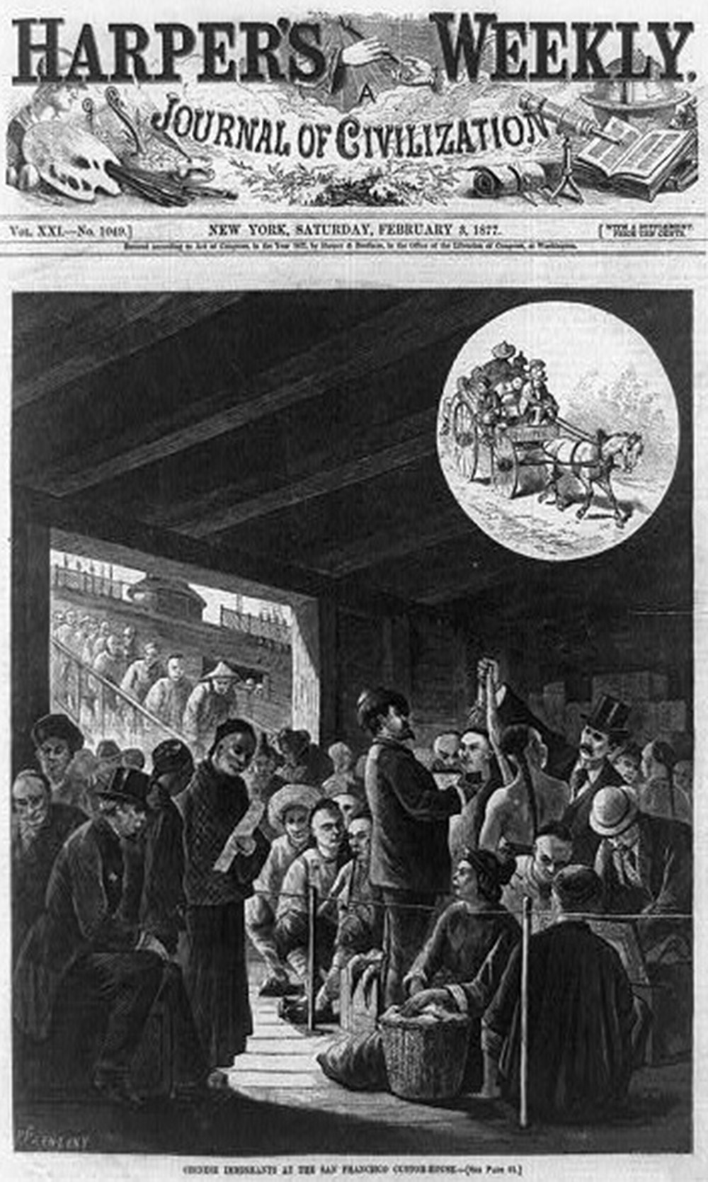 Chinese immigrants at the San Francisco Custom-House, 1877. Library of Congress.