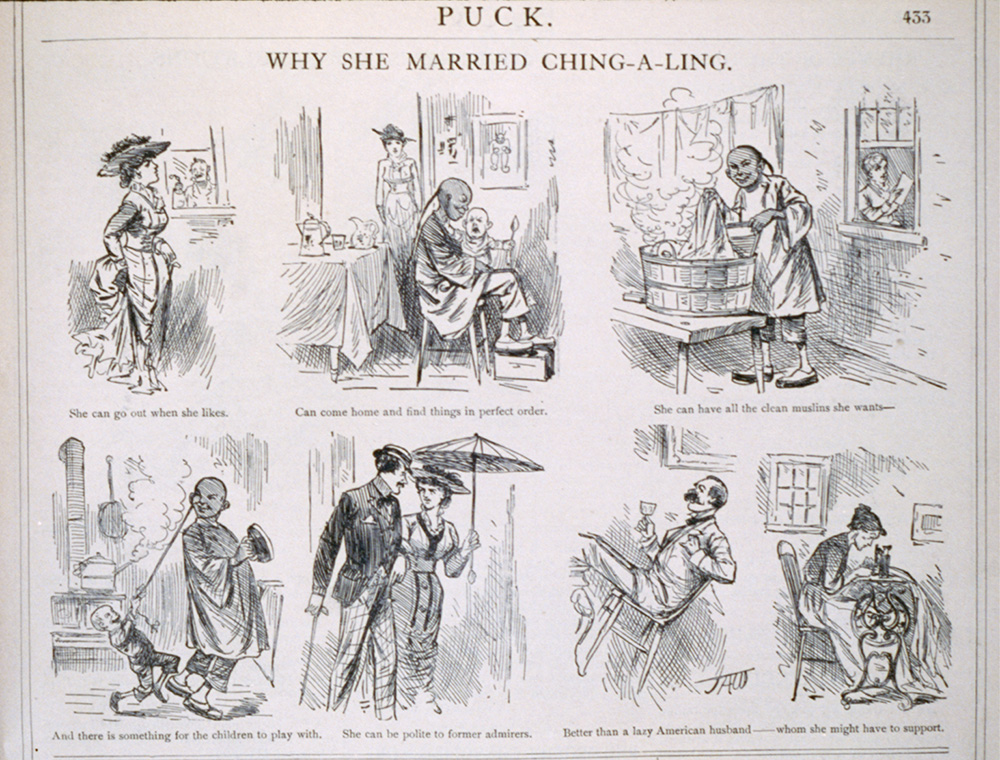 """Why She Married Ching-A-Ling,"" by J.A. Wales. Puck, August 1, 1881. Library of Congress, Prints and Photographs Division."