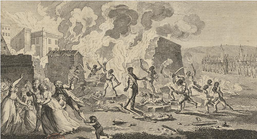 Frontispiece from L'Incendie du Cap, ou Le règne de Toussaint-Louverture, by René Périn, 1802.