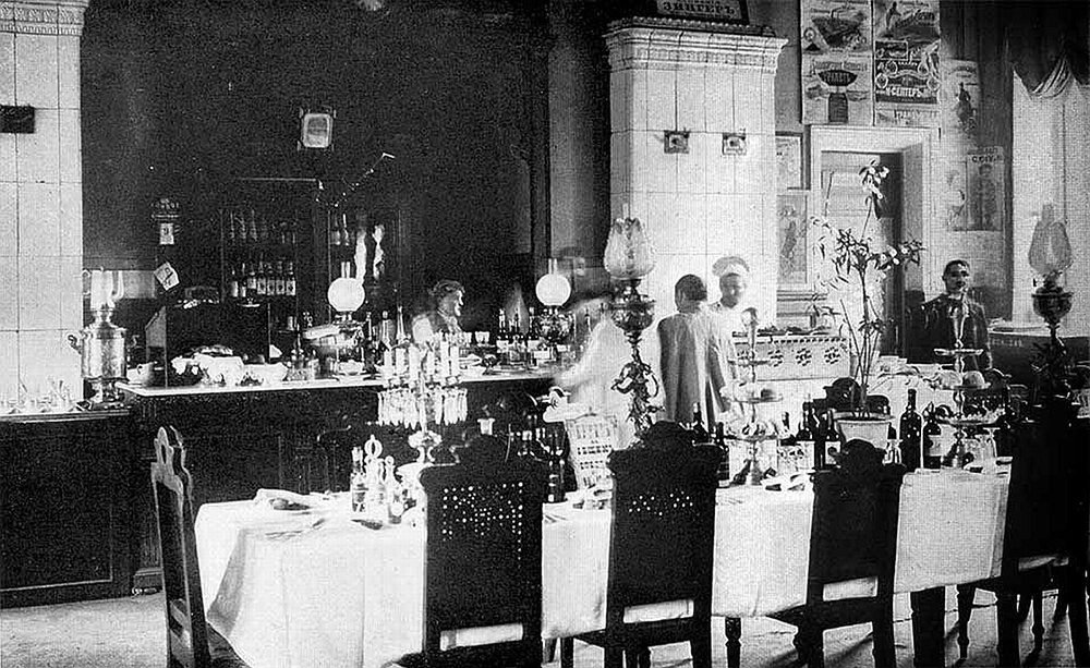 """A Russian railway station restaurant, 1901. Photograph by Michael Ward. From E. Burton Holmes, """"The Burton Holmes Lectures, Vol. VIII"""" (1901)."""