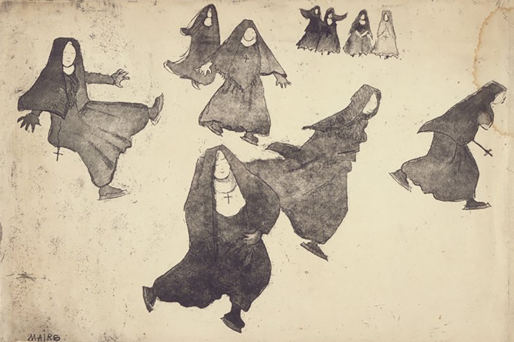 Nuns Skating, by Clara Gardner Mairs, twentieth century.