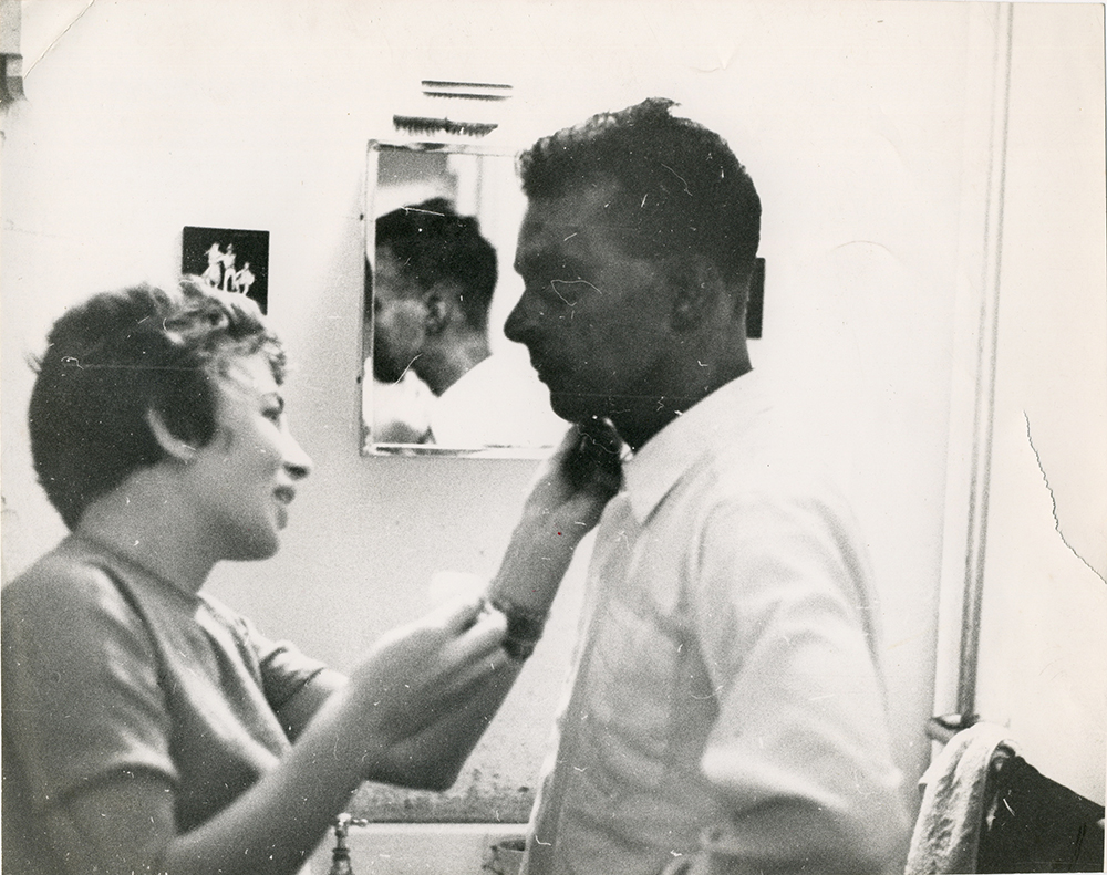 Jean Hart painting Stein's face with permaganate. Photograph by Malcolm Hart.