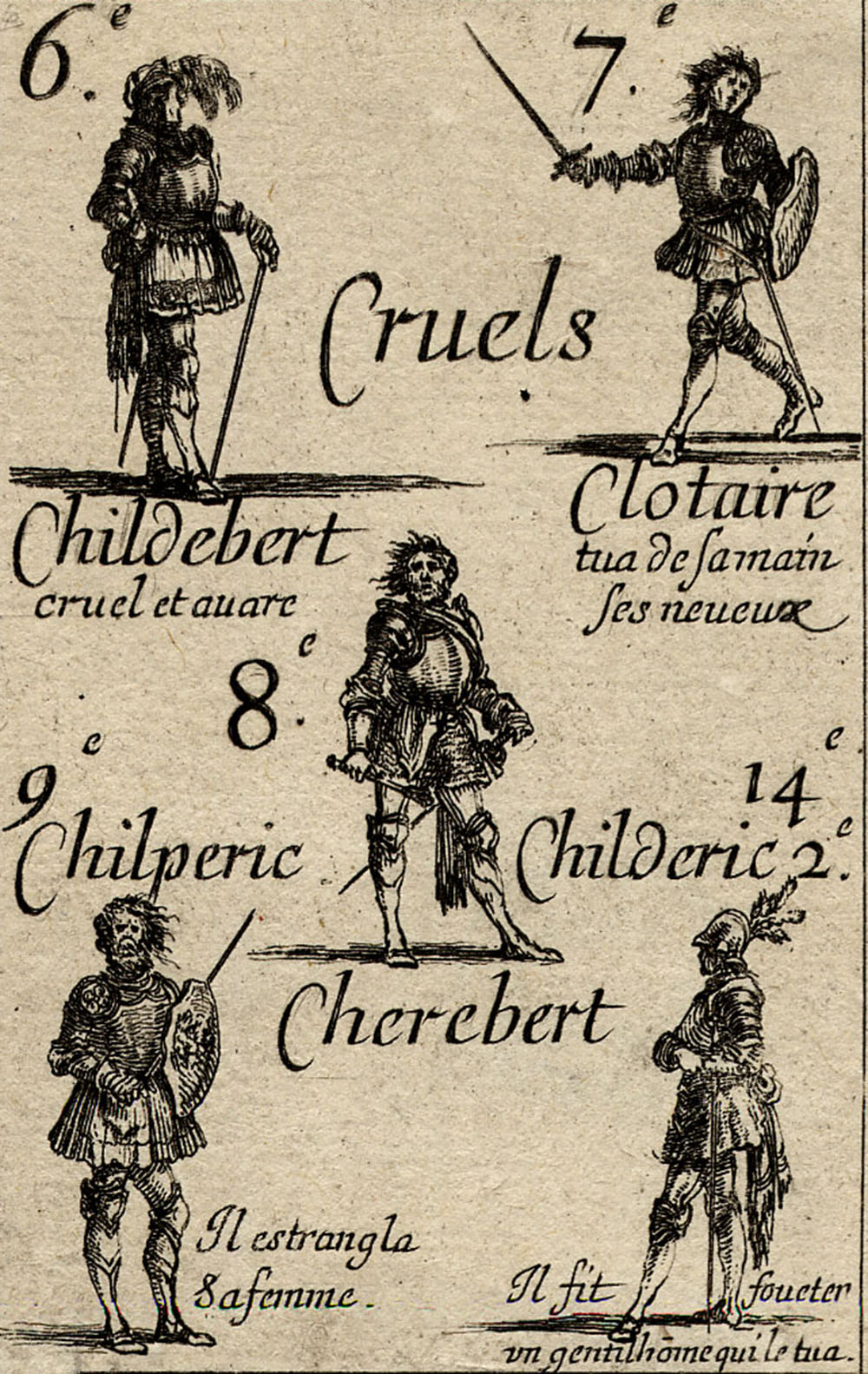"""Cruels"" playing card, by Stefano della Bella, 1644. British Museum."