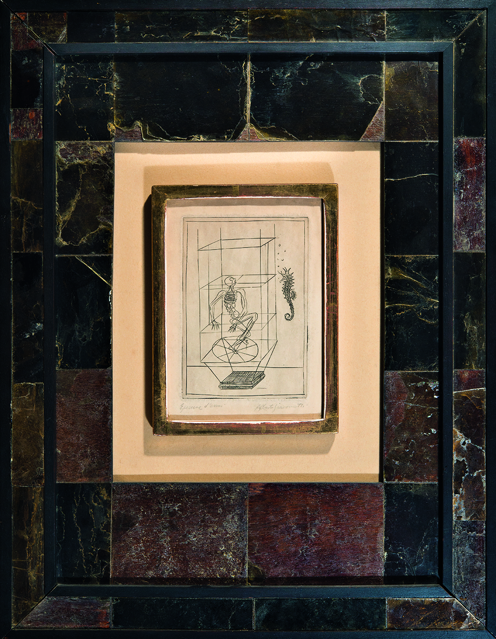 Frame of blackened wood and mica designed by Jean-Michel Frank, containing a print of a drawing by Alberto Giacometti for the frontispiece of the book Les Pieds dans le plat by René Crevel, c. 1933.