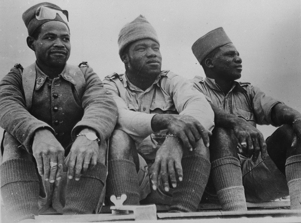 Three members of the Free French Foreign Legion—from Senegal, Equatorial Africa, and Madagascar, respectively—who distinguished themselves in the battle at Bir Hakeim, 1942. Library of Congress, Prints and Photographs Division.