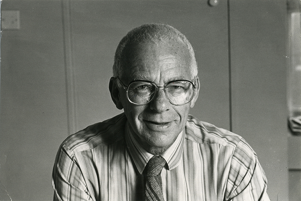 Stein in his office, c. 1985. Courtesy of Sarah Cawkwell.