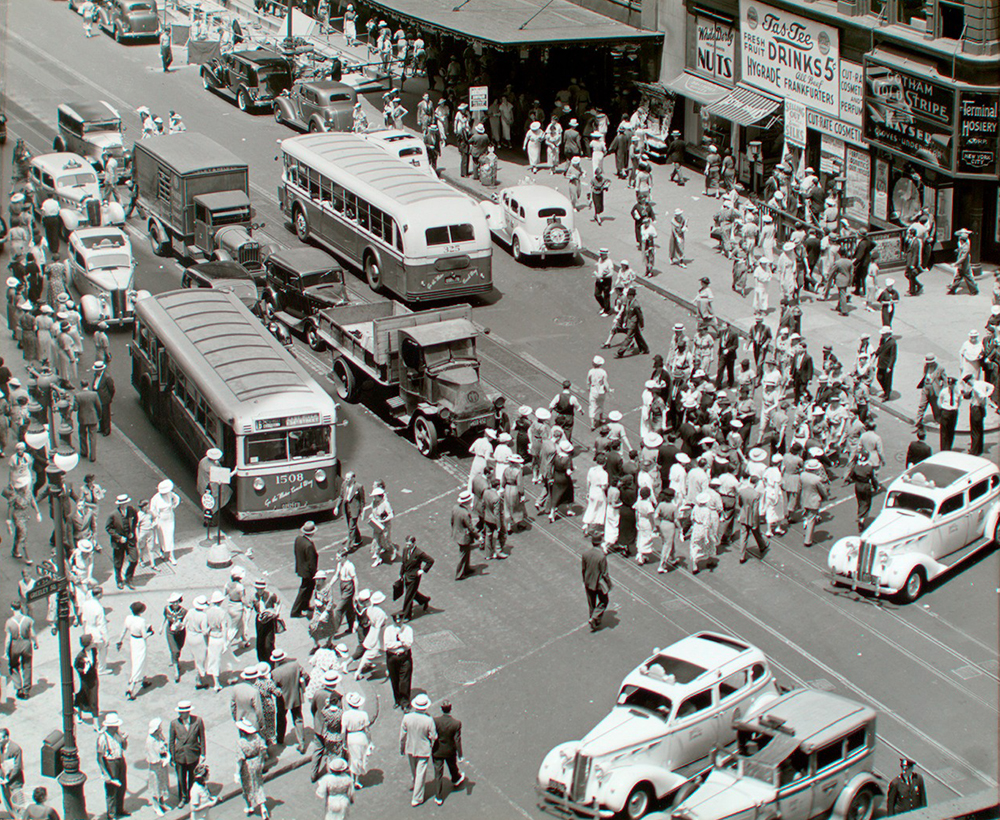 Herald Square, 34th and Broadway, Manhattan, 1936. Photograph by Berenice Abbott. The New York Public Library, The Miriam and Ira D. Wallach Division of Art, Prints and Photographs.