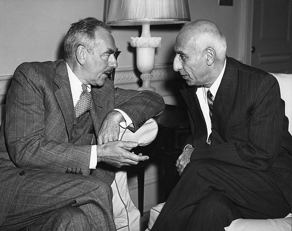 Secretary Dean Acheson confers with Prime Minister Mohammed Mossadegh of Iran at the Walter Reed Army Medical Center, 1951. Harry S. Truman Presidential Library.