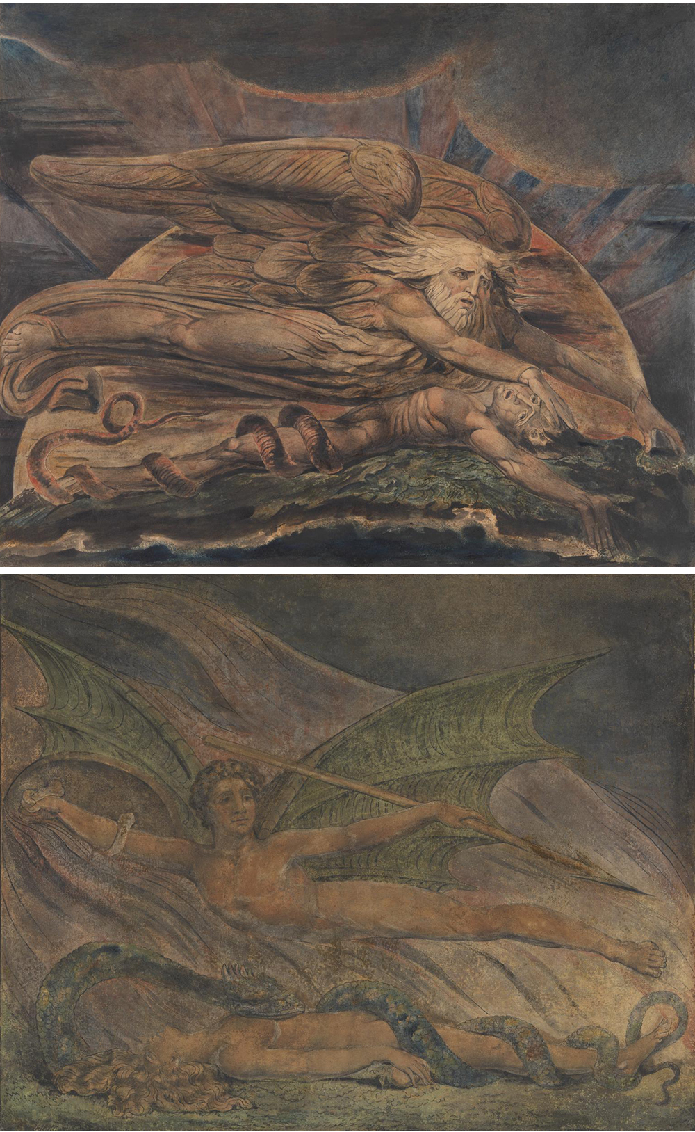 Top: Elohim Creating Adam, by William Blake, c. 1795. Bottom: Satan Exulting over Eve, by William Blake, c. 1795.