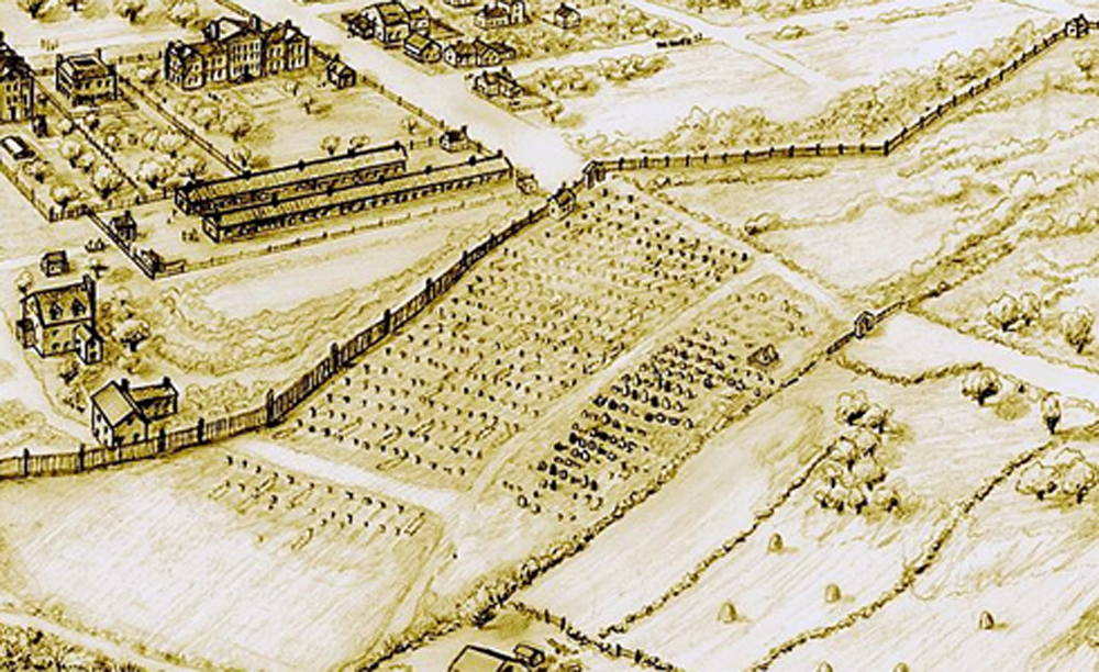 View of African burial ground in Manhattan, c. 1790.