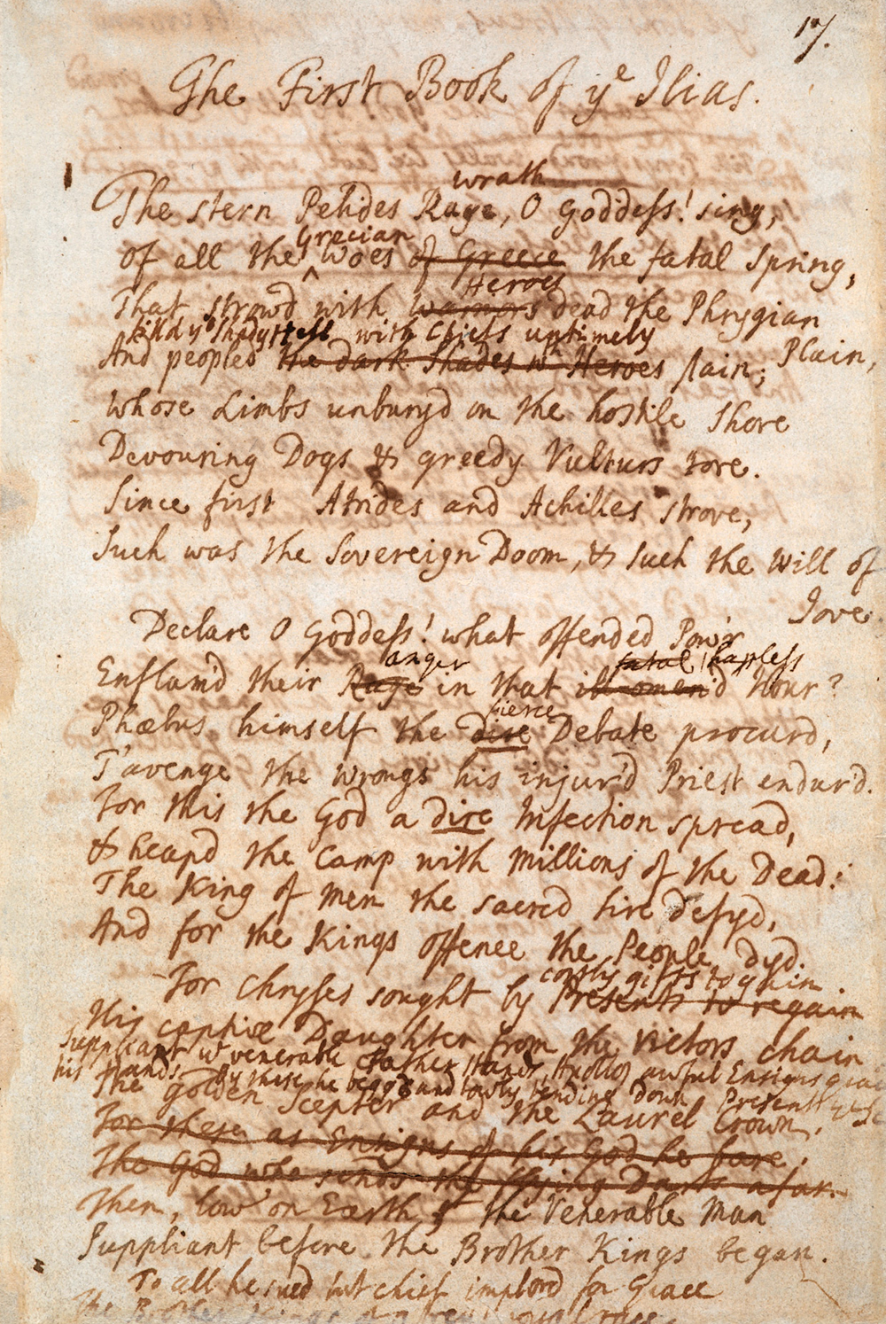 Page from Alexander Pope's version of the Iliad, c. 1707. British Library.