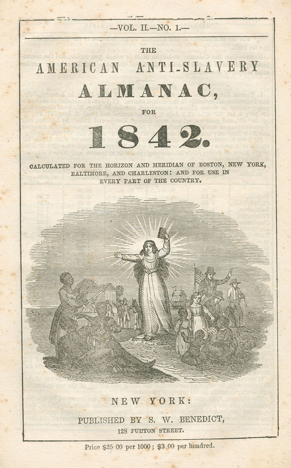 Cover of The American Anti-Slavery Almanac for 1842. Smithsonian National Museum of African American History and Culture.