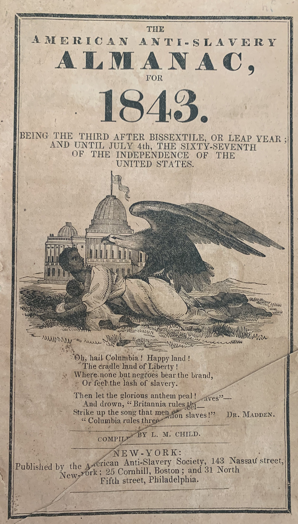 Cover of The American Anti-Slavery Almanac for 1843. Wikimedia Commons.