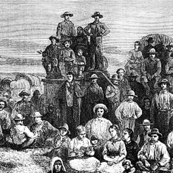 A black-and-white depiction of American settlers in the 19th century