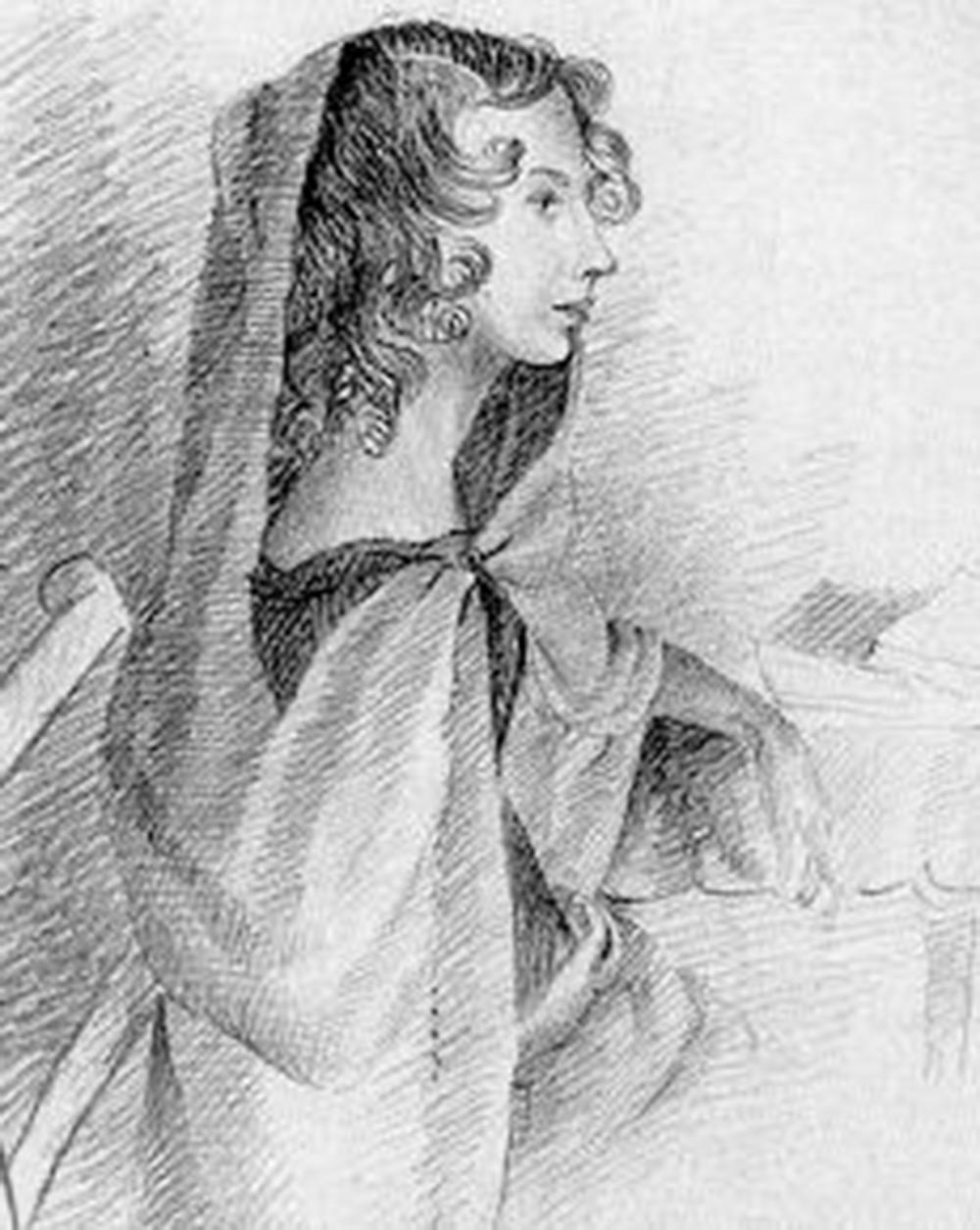 A sketch of Anne Brontë by her sister Charlotte, c. 1834.