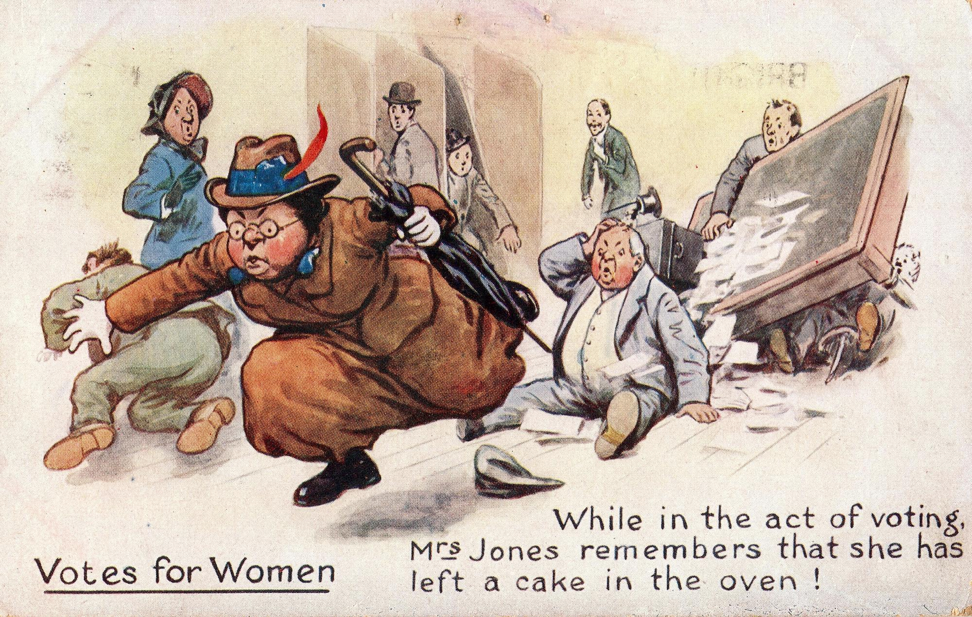"""A cartoon of a woman running out of a polling place, knocking over the table and spilling ballots in her haste. The text reads """"While in the act of voting Mrs Jones remembers that she has left a cake in the oven!"""""""