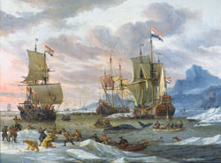 A painting of sail ships on the water.