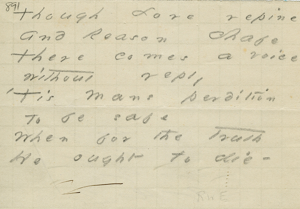 "Emily Dickinson transcription of Ralph Waldo Emerson's ""Sacrifice."" Amherst College Archives & Special Collections."