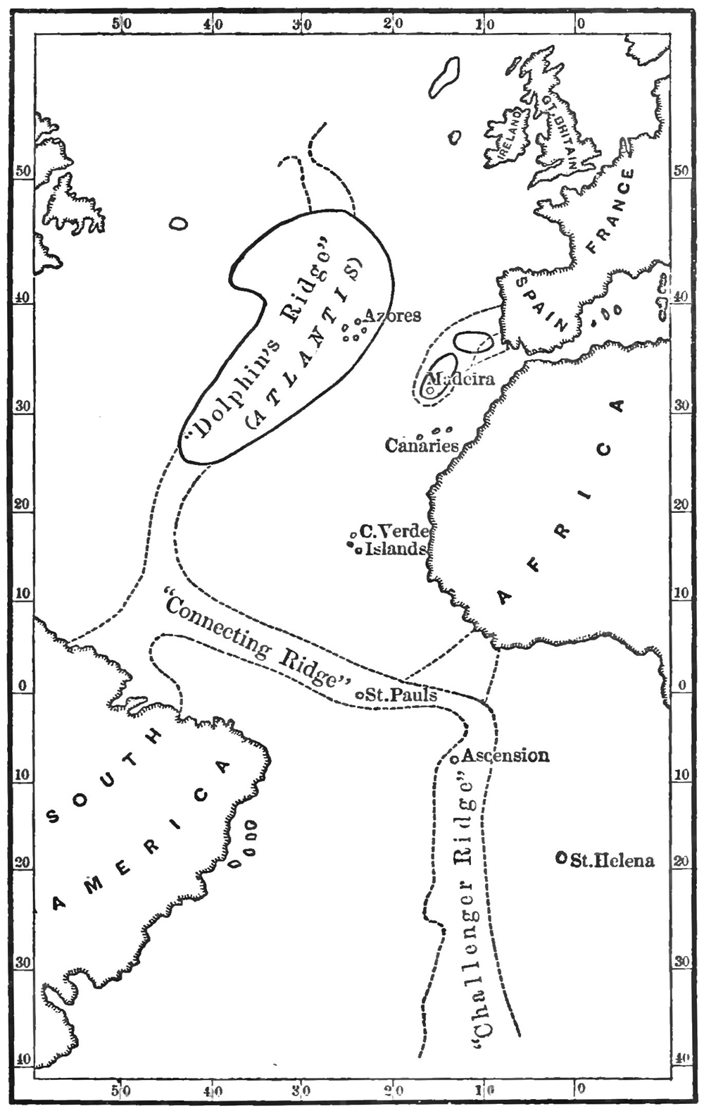 Map of Atlantis, with its islands and connecting ridges, from deep-sea soundings, from Atlantis: The Antediluvian World (1882) by Ignatius Donnelly.